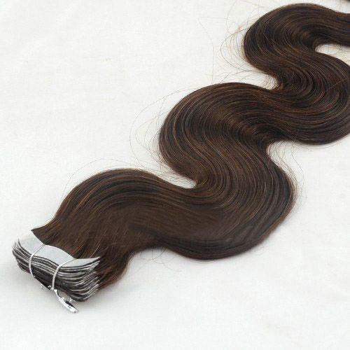 28 Inch #4 Medium Brown Long Tape In Hair Extensions Body Wave 20 Pcs details pic 3