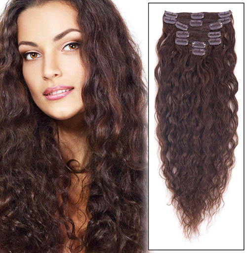 28 Inch #4 Medium Brown Practical Clip In Hair Extensions French Wavy 7 Pcs