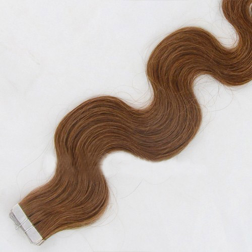 34 Inch #8 Ash Brown Elegant Tape In Hair Extensions Body Wave 20 Pcs details pic 2