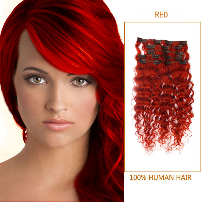 28 Inch Brilliant Red Clip In Human Hair Extensions Curly 7 Pieces