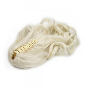 28 Inch Claw Clip Human Hair Ponytail Curly Pure #60 White Blonde