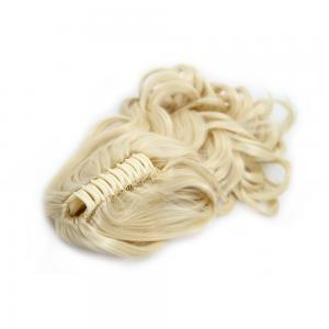 28 Inch Claw Clip Human Hair Ponytail Pretty Curly #613 Bleach Blonde