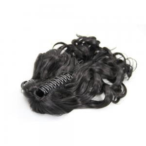 28 Inch Claw Clip Supple Human Hair Ponytail Curly #1B Natural Black