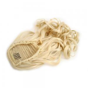 28 Inch Drawstring Human Hair Ponytail Fulgurant Curly #613 Bleach Blonde