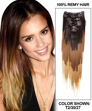 28 Inch elegant Ombre Clip In Hair Extensions Three Tone Straight 9 Pieces