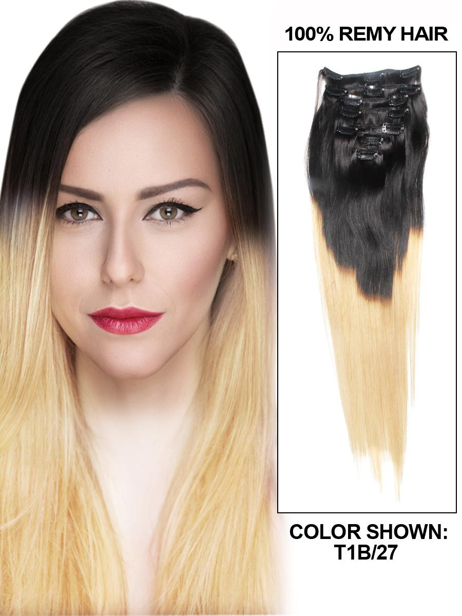 28 Inch Harmonious Ombre Clip in Indian Remy Hair Extensions Two Tone Straight 9 Pieces