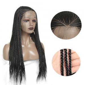 28 Inch Long Braided Wig Box Braids Hair Synthetic Lace Front Wig Heat Resistant Fiber Lace Wigs For Black Women