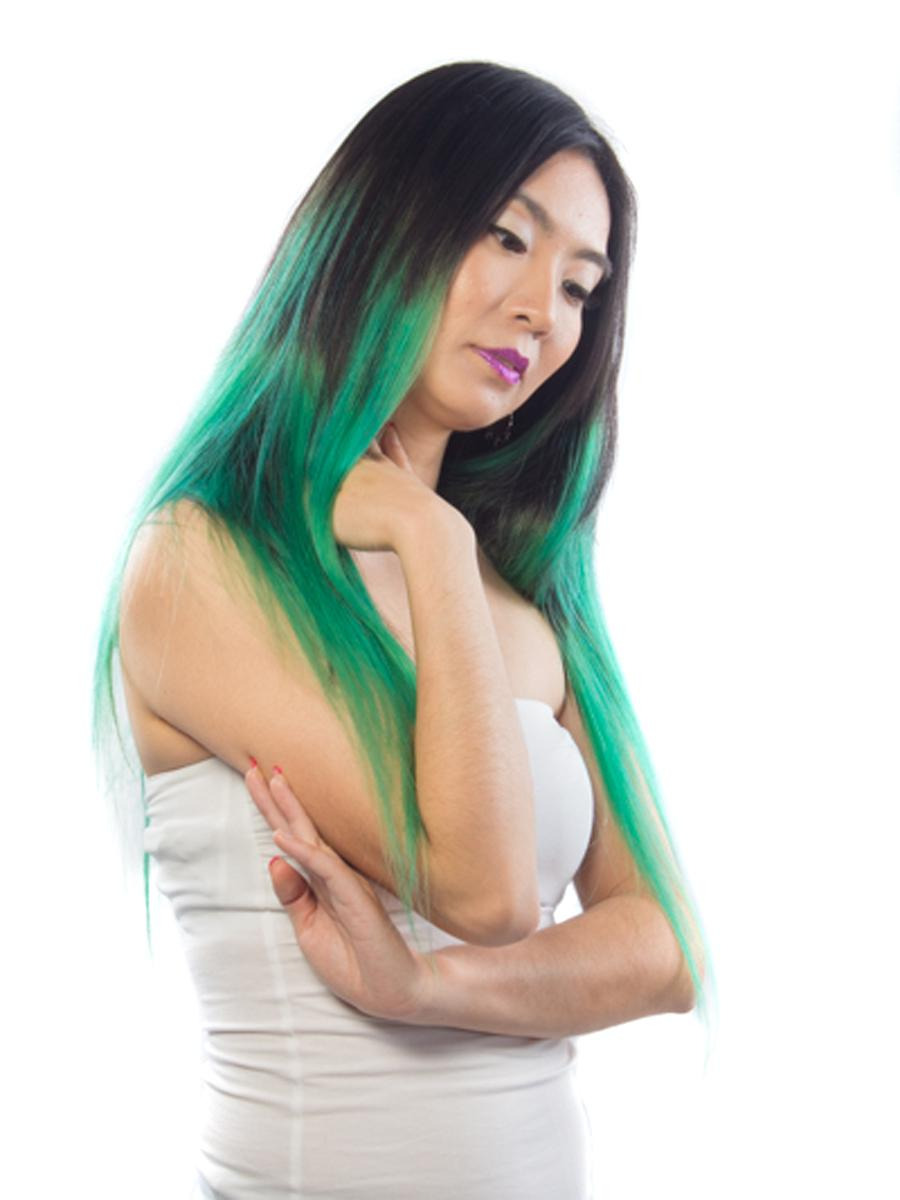 28 Inch Natuaral Dark and Lime Green Ombre Clip in Hair Extensions Two Tone Straight 9 Pieces no 2