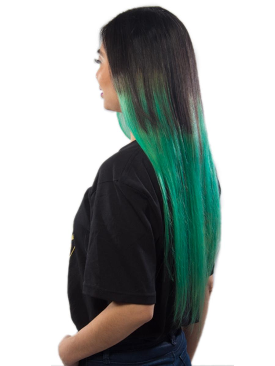 28 Inch Natuaral Dark and Lime Green Ombre Clip in Hair Extensions Two Tone Straight 9 Pieces no 4