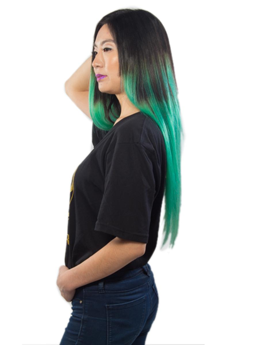28 Inch Natuaral Dark and Lime Green Ombre Clip in Hair Extensions Two Tone Straight 9 Pieces no 5