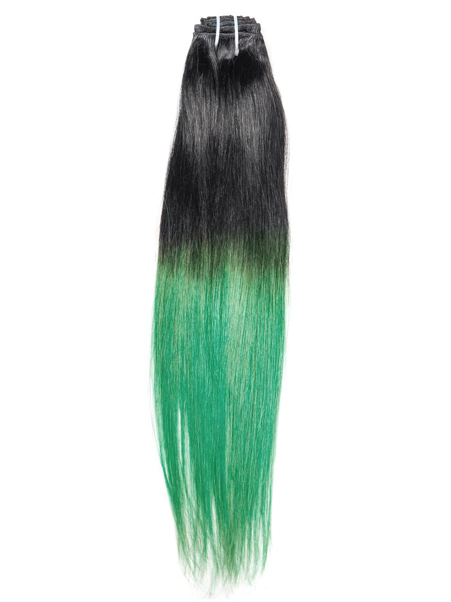 28 Inch Natuaral Dark and Lime Green Ombre Clip in Hair Extensions Two Tone Straight 9 Pieces no 7