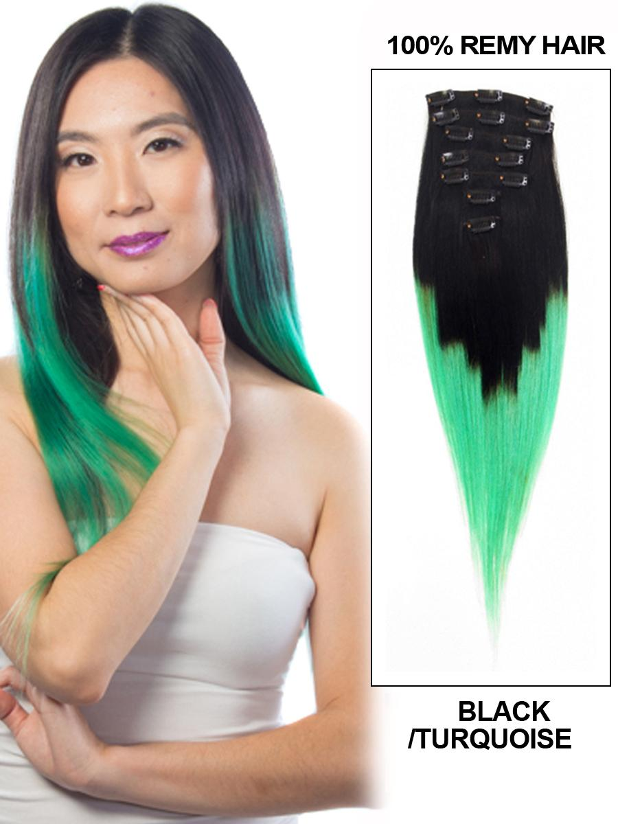 28 Inch Natuaral Dark and Lime Green Ombre Clip in Hair Extensions Two Tone Straight 9 Pieces