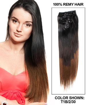 28 Inch Natural Black,Dark Brown and Auburn Ombre Clip In Hair Extensions Three Tone Straight 9 Pieces