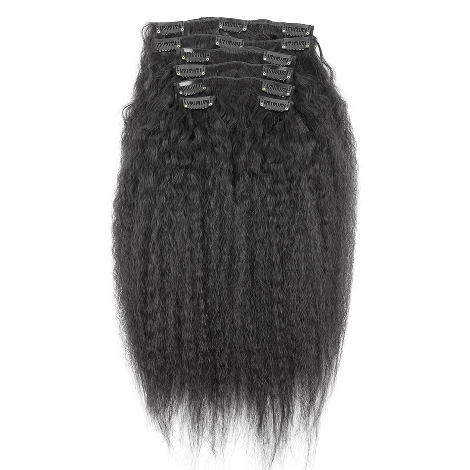 30 - 40 Inch Brazilian Virgin Kinky Straight Clip In Hair Extensions #1B Natural Black