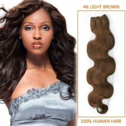 30 Inch  #6 Light Brown Body Wave Indian Remy Hair Wefts