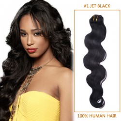 30 Inch #1 Jet Black Body Wave Indian Remy Hair Wefts