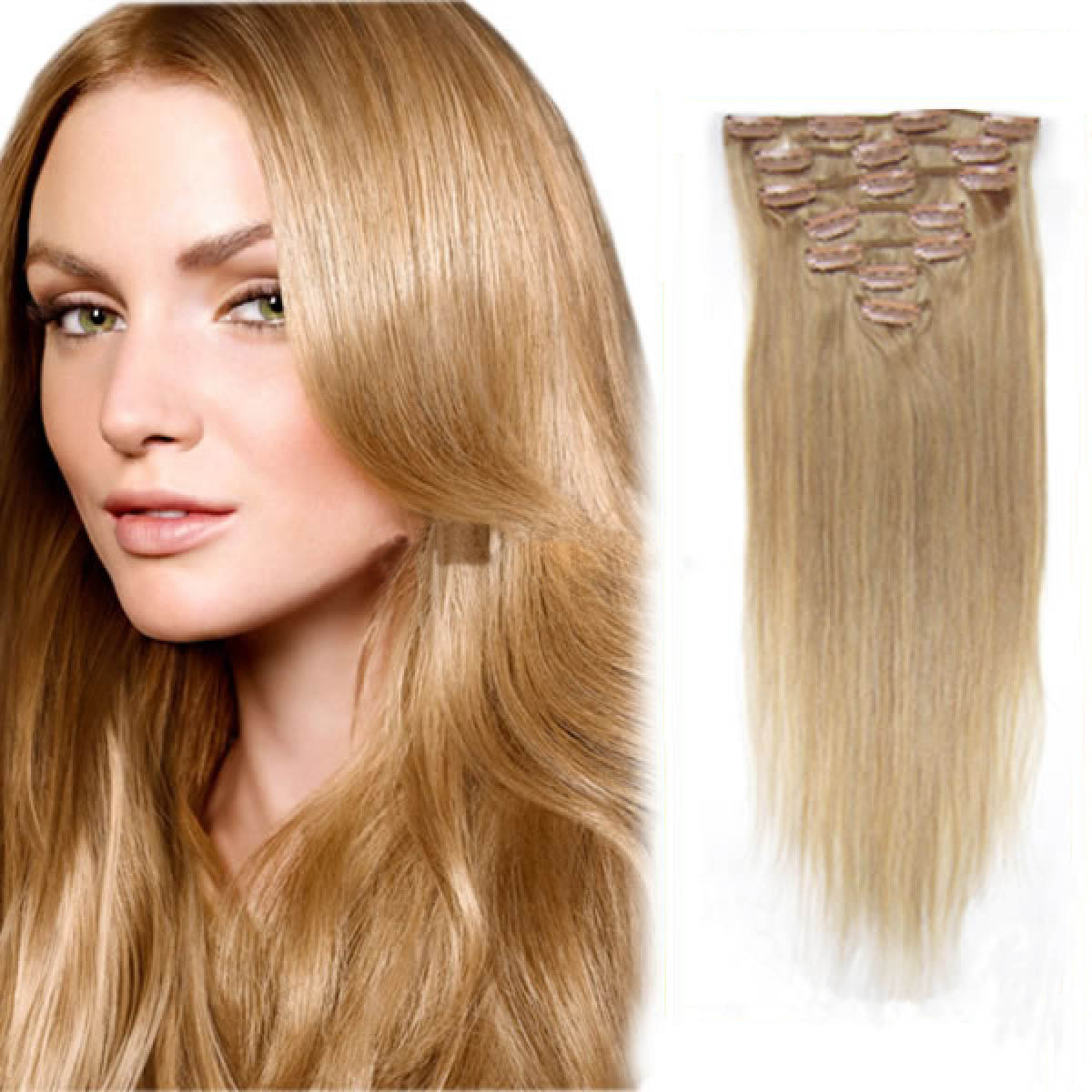 30 Inch 16 Golden Blonde Clip In Human Hair Extensions 11pcs