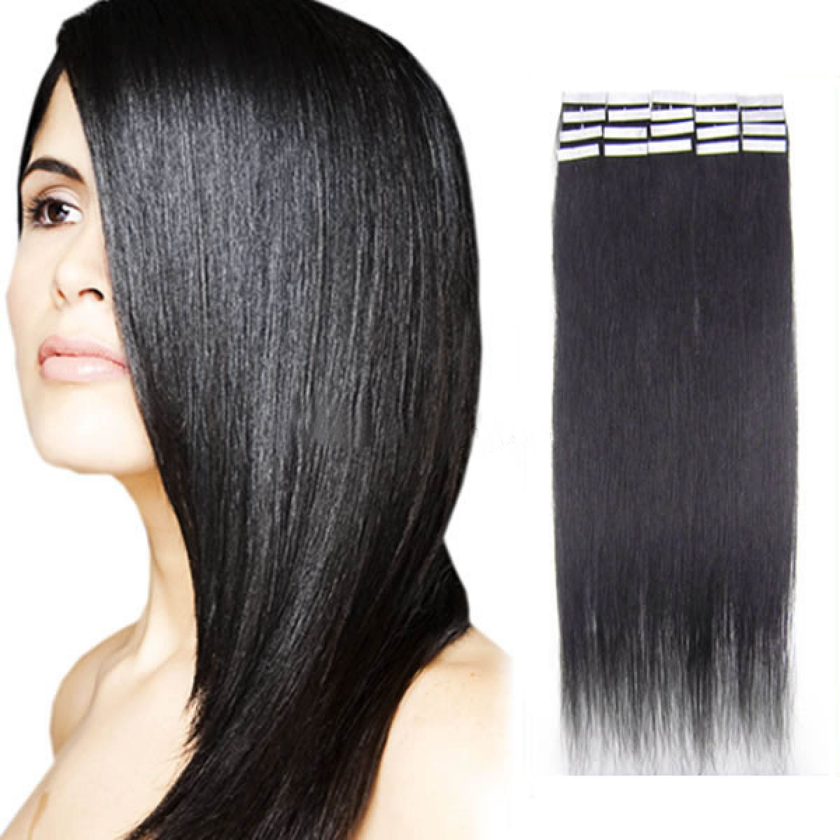 30 Inch 1b Natural Black Tape In Human Hair Extensions 20pcs
