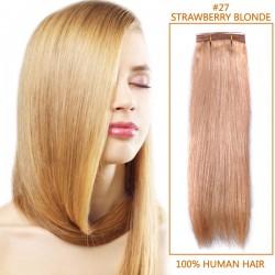 30 Inch #27 Strawberry Blonde Straight Brazilian Virgin Hair Wefts