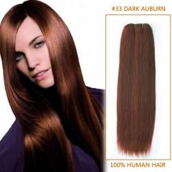 30 Inch #33 Dark Auburn Straight Brazilian Virgin Hair Wefts