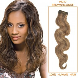 30 Inch #4/27 Brown/Blonde Body Wave Brazilian Virgin Hair Wefts