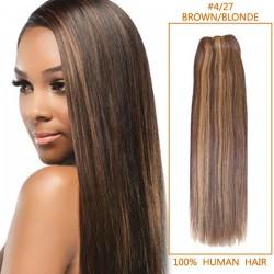 30 Inch #4/27 Brown/Blonde Straight Brazilian Virgin Hair Wefts