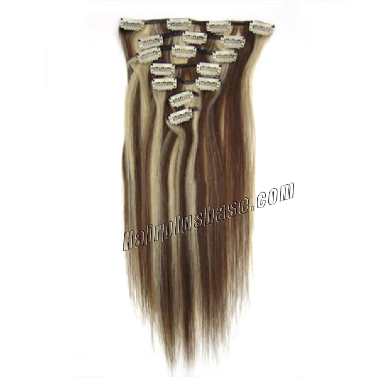 30 Inch 4613 Clip In Remy Human Hair Extensions 12pcs