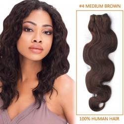 30 Inch #4 Medium Brown Body Wave Brazilian Virgin Hair Wefts