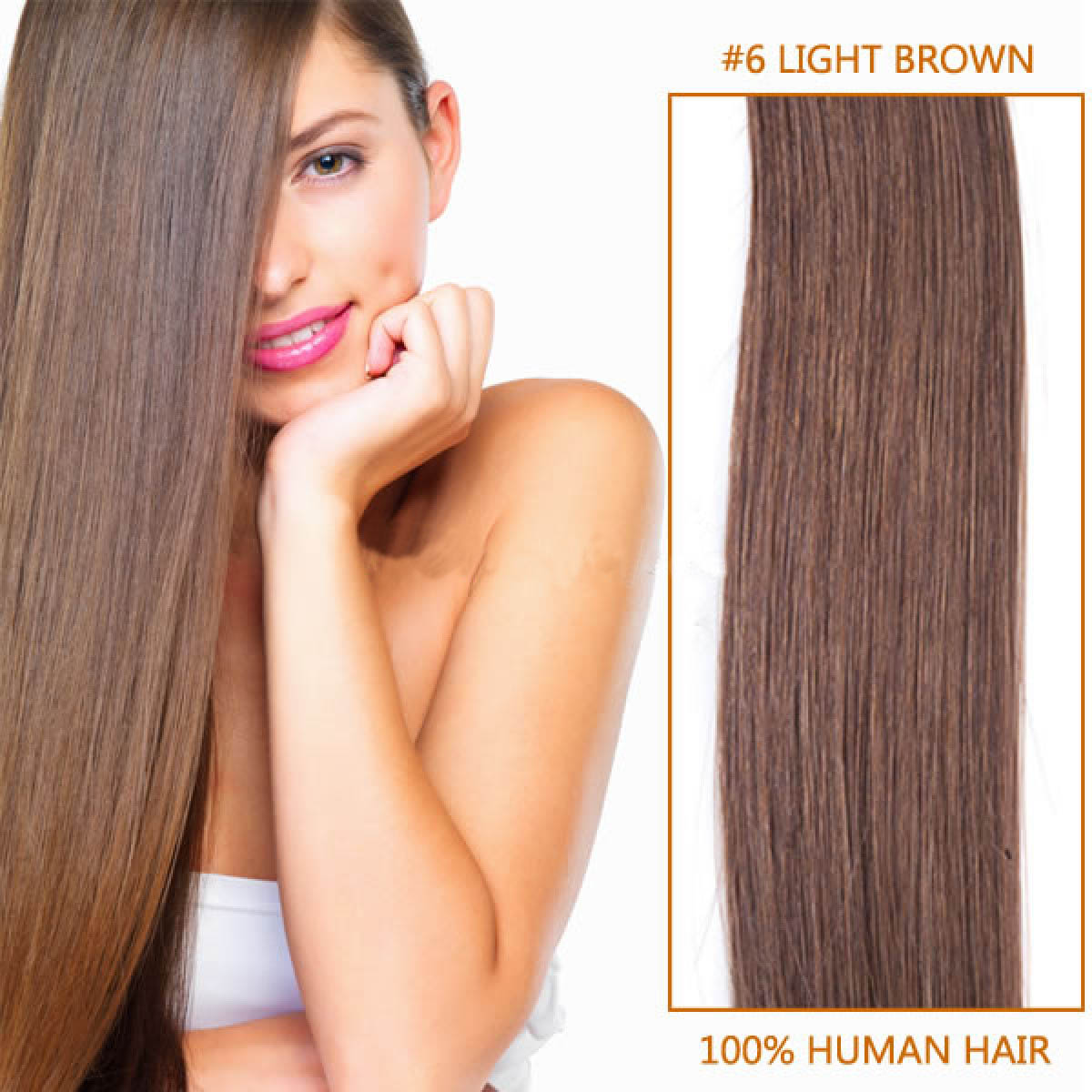 30 Inch #6 Light Brown Clip In Human Hair Extensions 11pcs