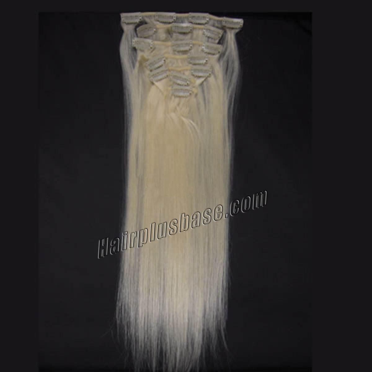 30 Inch #60 White Blonde Clip In Human Hair Extensions 11pcs no 2