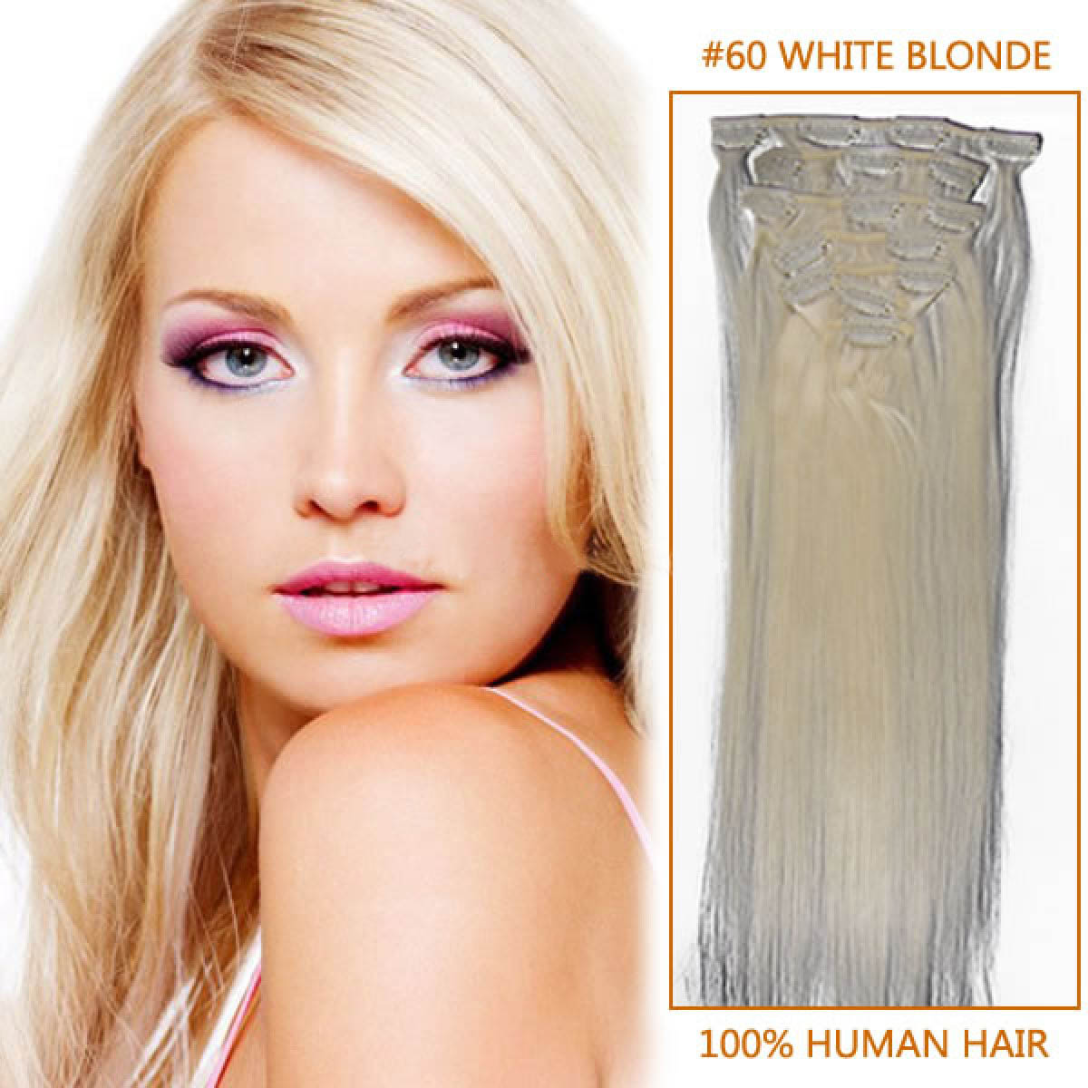 30 Inch #60 White Blonde Clip In Human Hair Extensions 11pcs