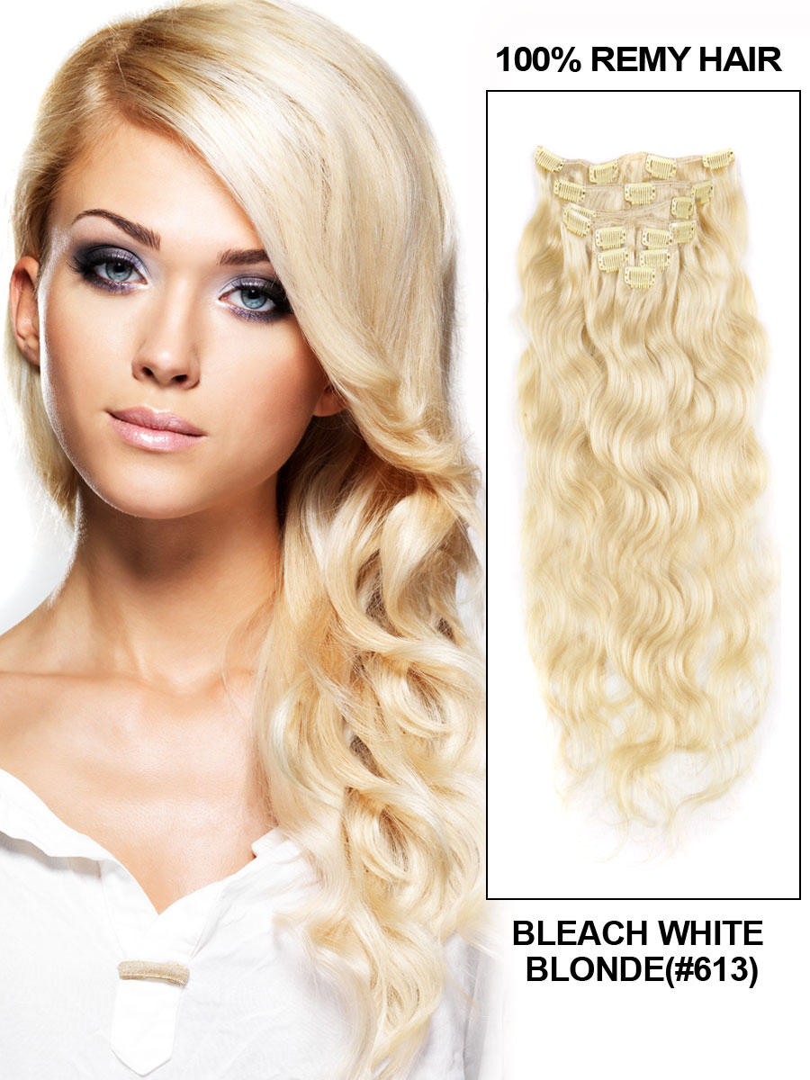30 Inch 613 Bleach Blonde Clip In Hair Extensions Body Wave 11 Pieces