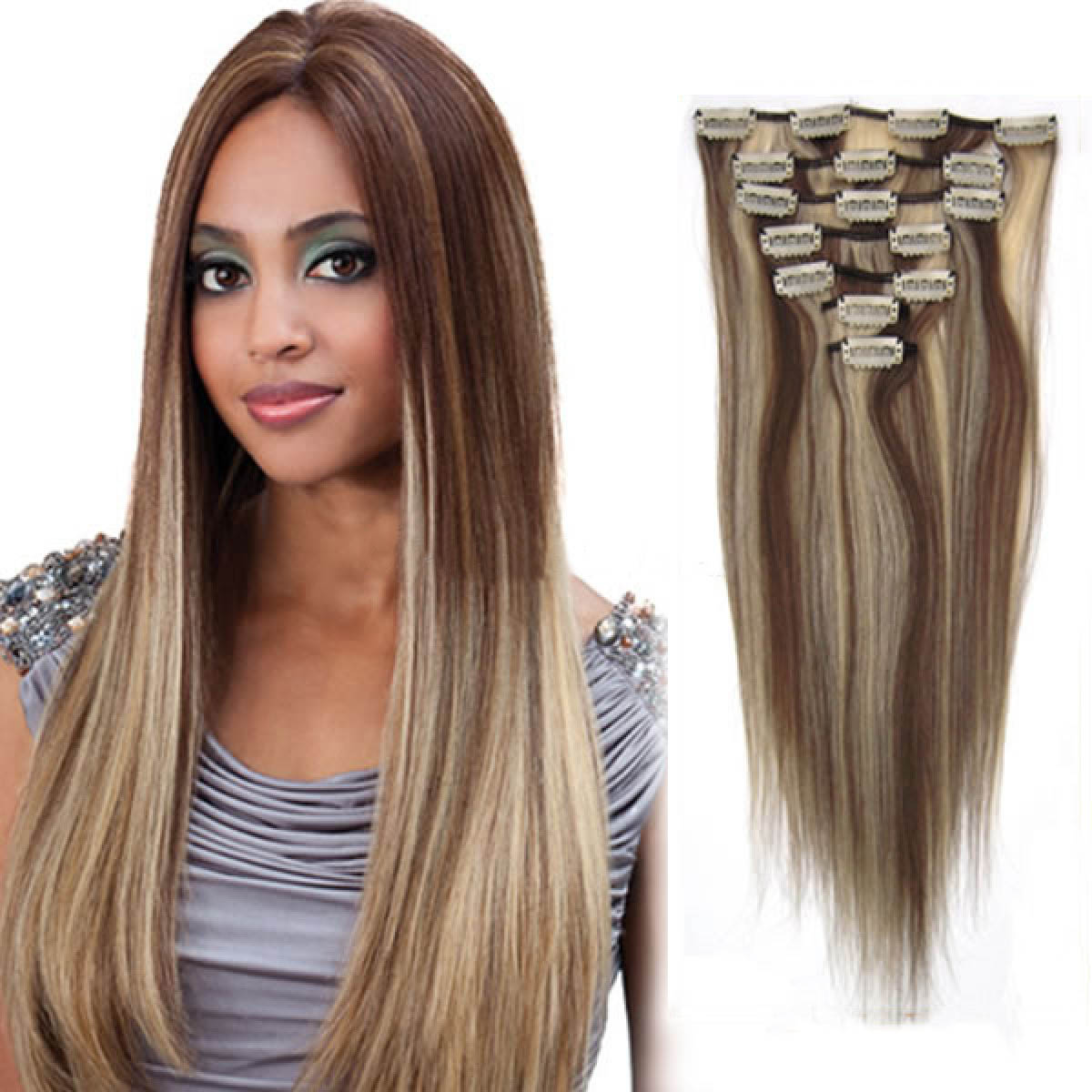 30 Inch 8613 Brownblonde Clip In Remy Human Hair Extensions 7pcs