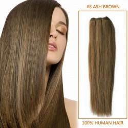 30 Inch #8 Ash Brown Straight Brazilian Virgin Hair Wefts