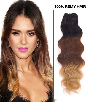 30 Inch Blonde-Brown-Black Ombre Clip In Indian Remy Human Hair Extensions Body Wave 9pcs