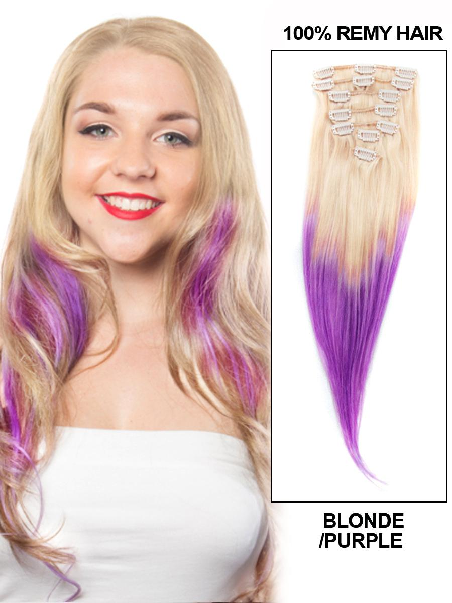 30 Inch Charming Ombre Clip In Remy Human Hair Extensions Two Tone