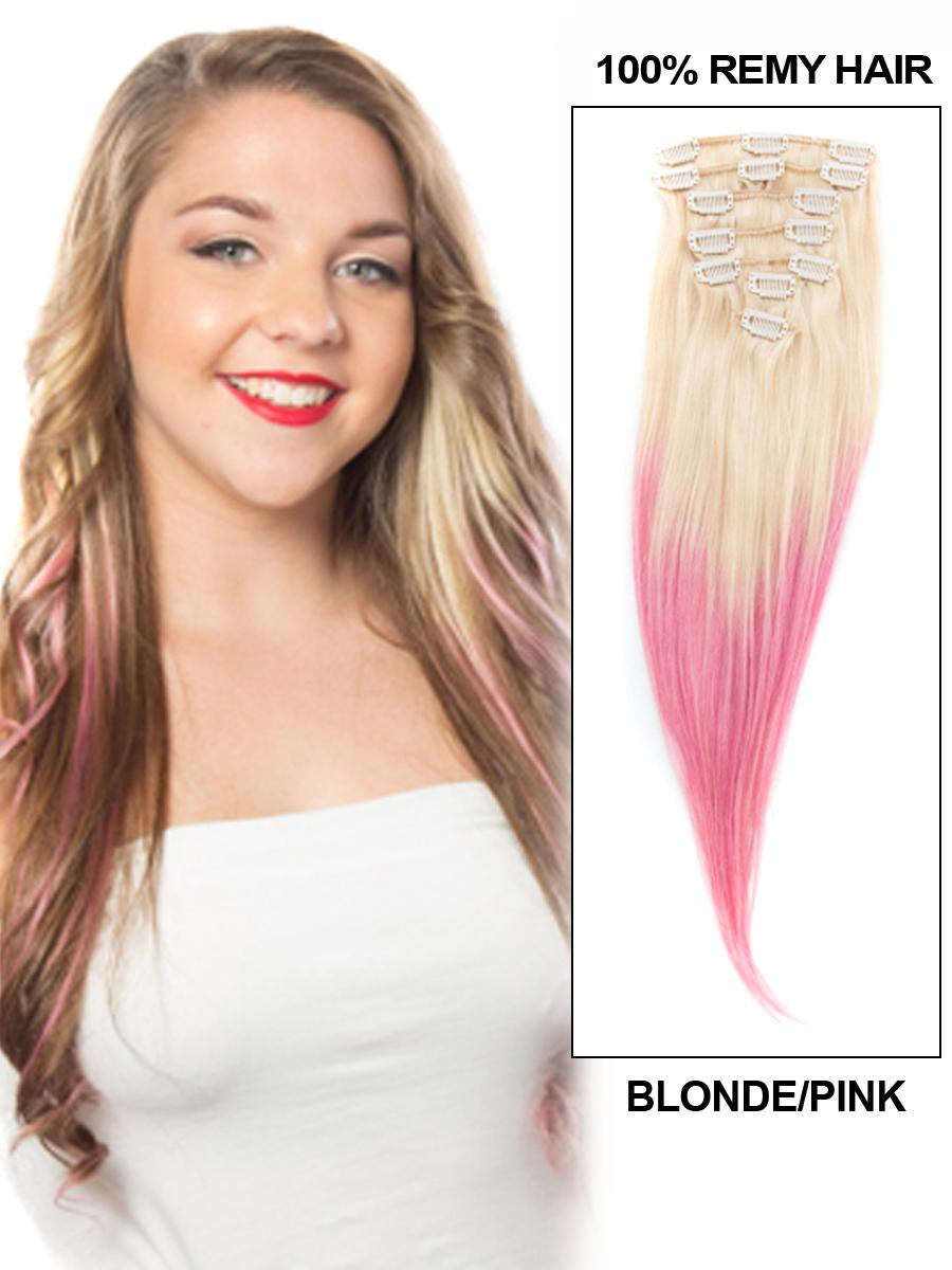 30 Inch Fantastic Ombre Clip In Hair Extensions Two Tone Straight 9