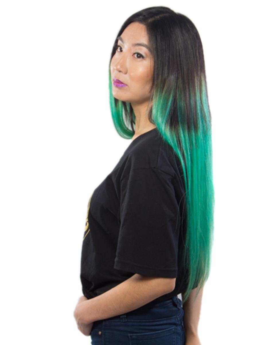 30 Inch Fashionable Ombre Clip in Hair Extensions Two Tone Straight 9 Pieces #1BTGreen no 3