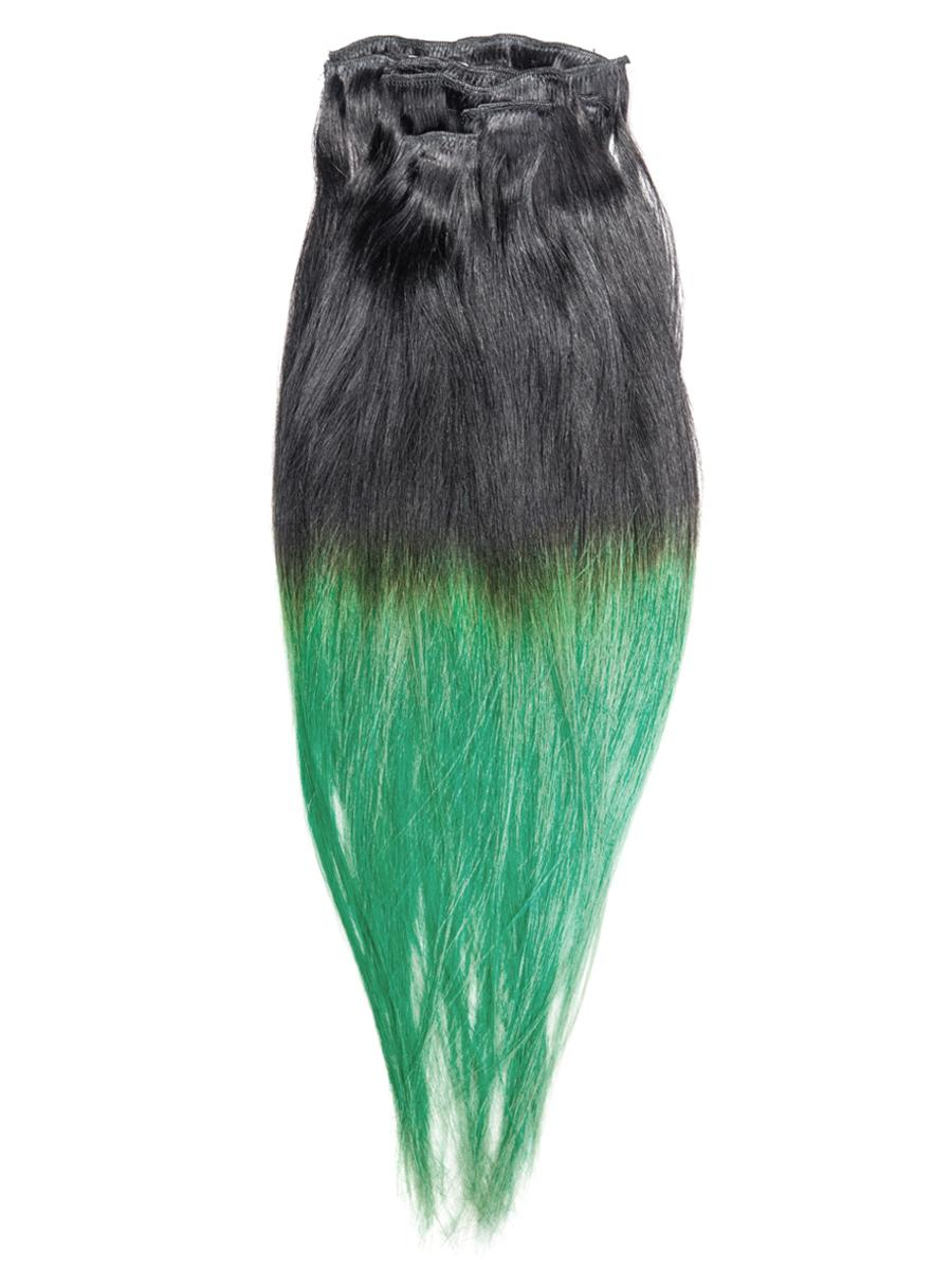 30 Inch Fashionable Ombre Clip in Hair Extensions Two Tone Straight 9 Pieces #1BTGreen no 6