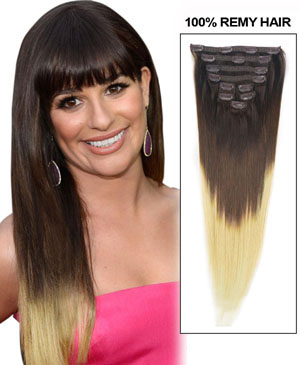 30 Inch Fashionable Three Colors Ombre Indian Remy Clip In Hair Extensions Straight 9pcs