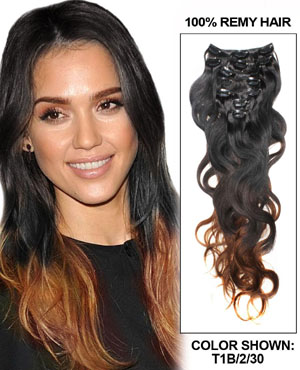 30 Inch Fashional Ombre Clip In Hair Extensions Three Tone Body Wave 9 Pieces