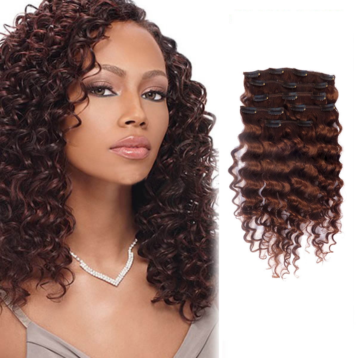 30 Inch Glossy 33 Dark Auburn Clip In Hair Extensions Curly 7 Pieces
