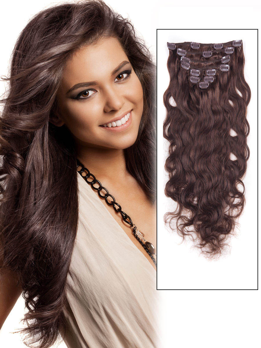 30 Inch Glossy 4 Medium Brown Clip In Indian Remy Human Hair