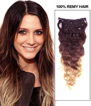 30 Inch High Grade Ombre Clip In Human Hair Extensions Three Tone Body Wave 9pcs