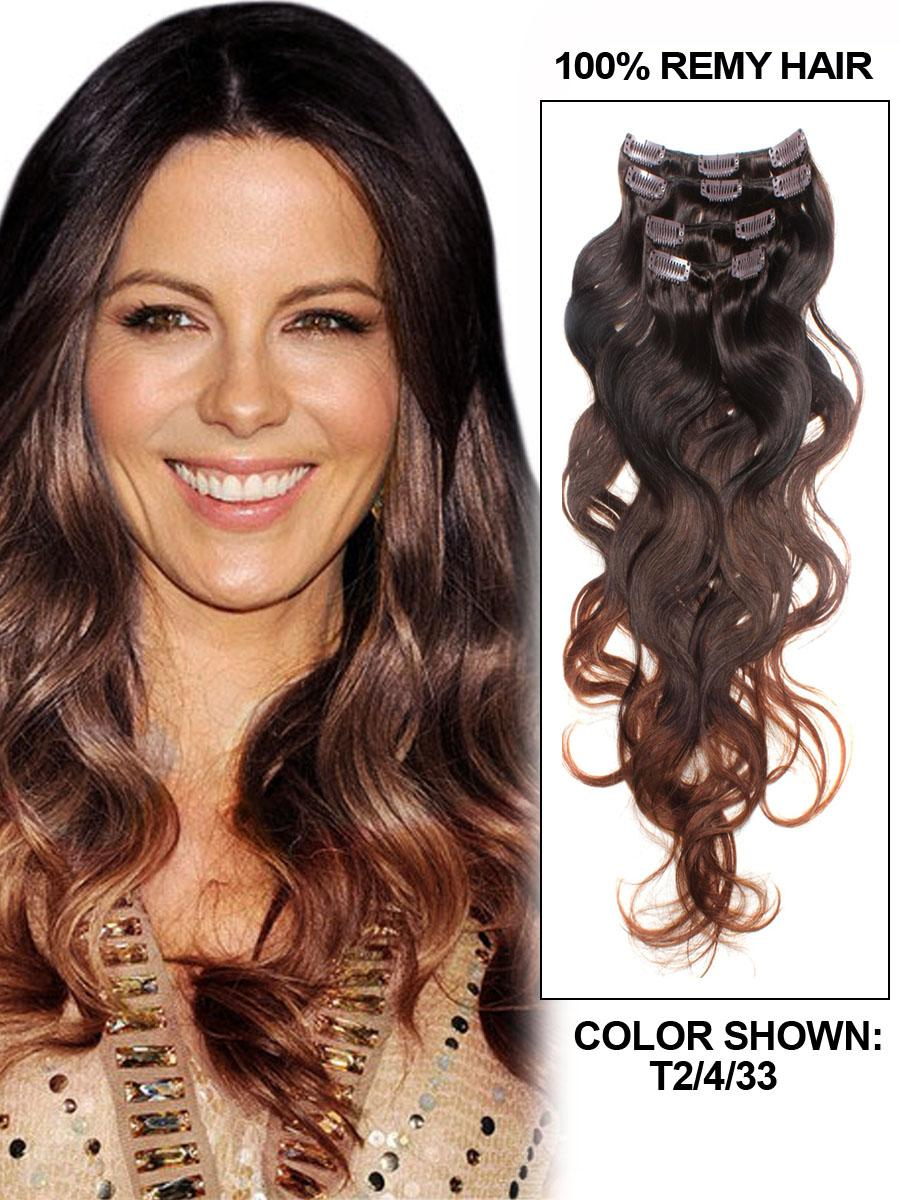 30 Inch Modern Ombre Clip In Hair Extensions Three Tone Body Wave 9