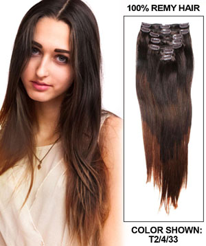 30 Inch Ombre and Smooth Clip In Hair Extensions Three Tone Straight 9 Pieces