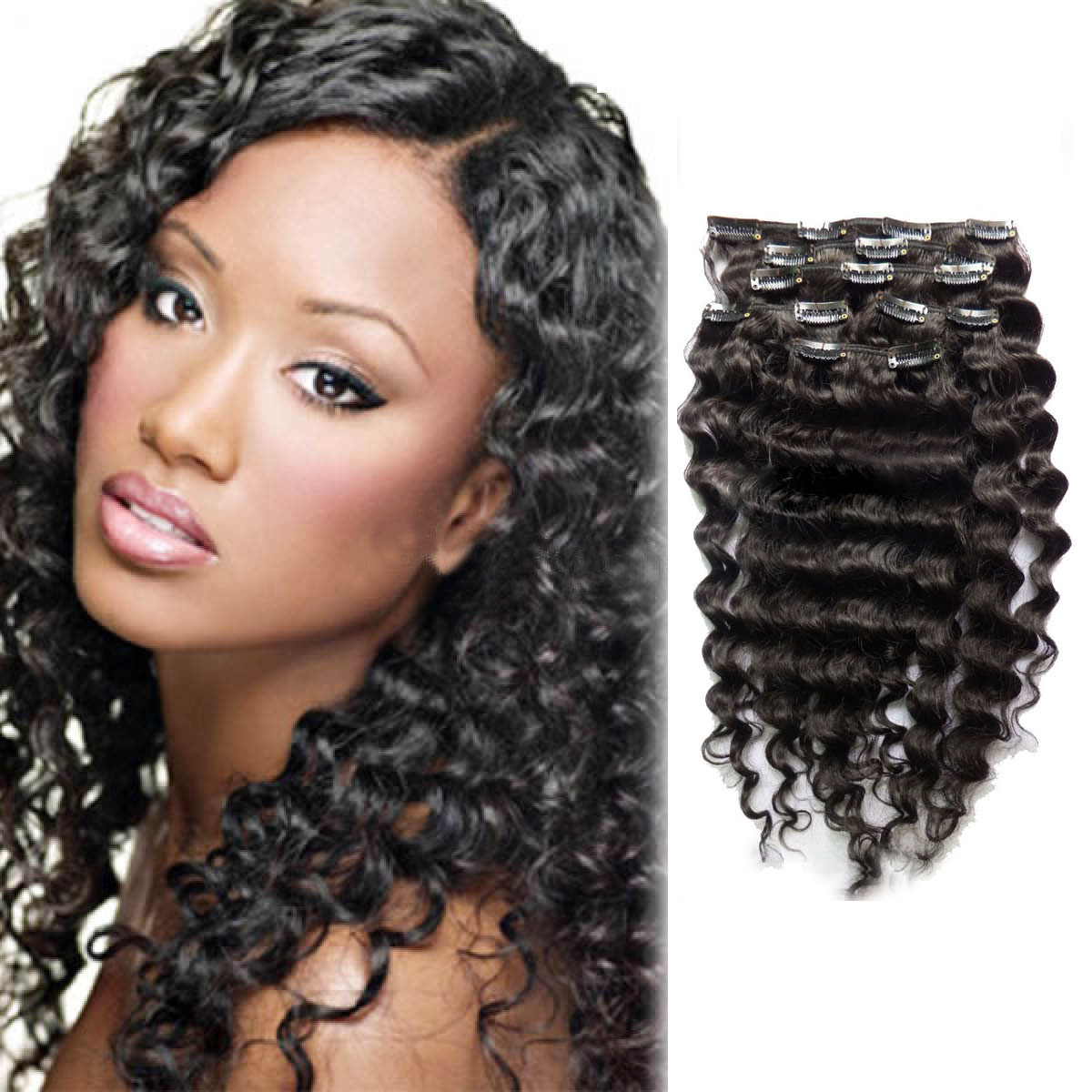 30 Inch Versatile 1b Natural Black Clip In Hair Extensions Curly 7