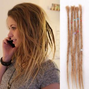 30pcs 50cm Human Hair Dreadlocks Crochet Braids Hair Extenions Dreads Locs Brown