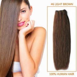 32 Inch  #6 Light Brown Straight Brazilian Virgin Hair Wefts