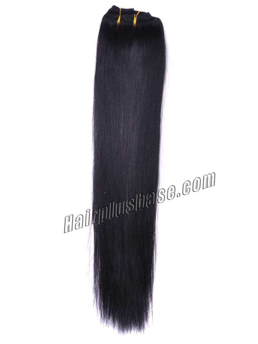 32 Inch 1 Jet Black Clip In Human Hair Extensions 10pcs